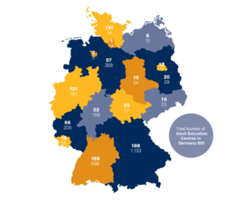 Map of Adult Education Centers in Germany