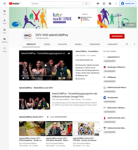 YouTube-Kanal von talentCAMPus
